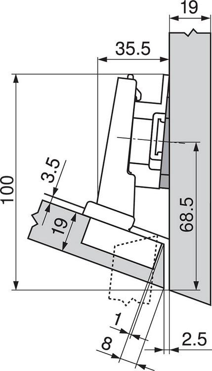 Blum 79A5493BT 110 Degree CLIP Top Hinge, Self-Close, -15 Degree Diagonal, Inserta :: Image 160