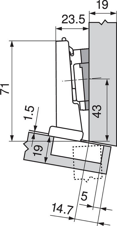 Blum 79A5493BT 110 Degree CLIP Top Hinge, Self-Close, -15 Degree Diagonal, Inserta :: Image 210