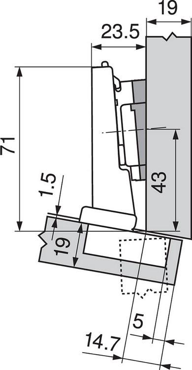 Blum 79A5493BT 110 Degree CLIP Top Hinge, Self-Close, -15 Degree Diagonal, Inserta :: Image 70
