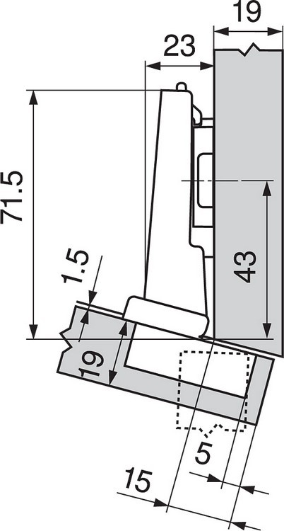 Blum 79A5493BT 110 Degree CLIP Top Hinge, Self-Close, -15 Degree Diagonal, Inserta :: Image 190