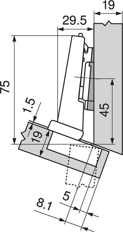 Blum 79A5493BT 110 Degree CLIP Top Hinge, Self-Close, -15 Degree Diagonal, Inserta :: Image 170