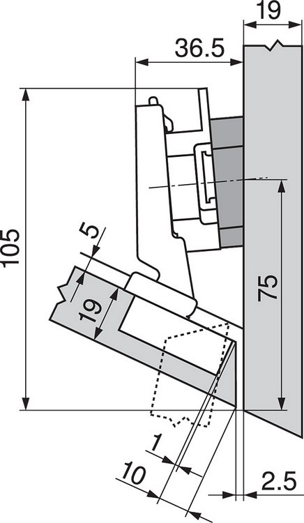 Blum 79A5491BT 110 Degree CLIP Top Hinge, Self-Close, -30 Degree Diagonal, Inserta :: Image 140