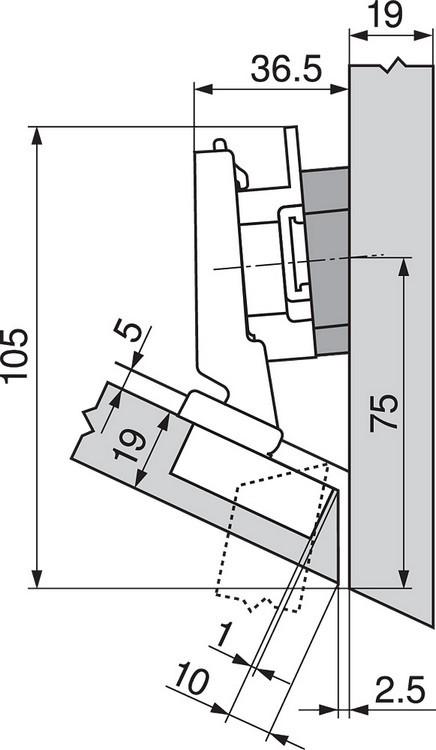 Blum 79A5491BT 110 Degree CLIP Top Hinge, Self-Close, -30 Degree Diagonal, Inserta :: Image 40