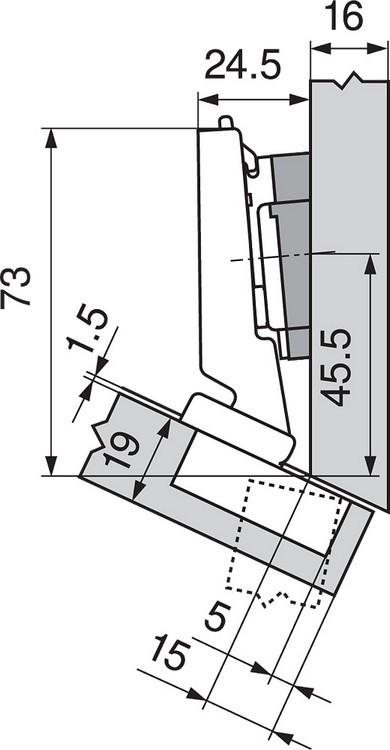 Blum 79A5491BT 110 Degree CLIP Top Hinge, Self-Close, -30 Degree Diagonal, Inserta :: Image 150