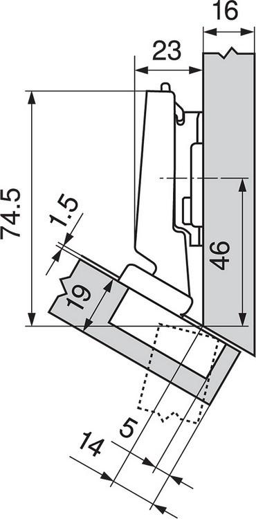 Blum 79A5491BT 110 Degree CLIP Top Hinge, Self-Close, -30 Degree Diagonal, Inserta :: Image 30