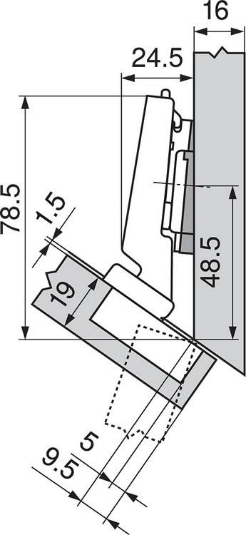 Blum 79A5491BT 110 Degree CLIP Top Hinge, Self-Close, -30 Degree Diagonal, Inserta :: Image 120
