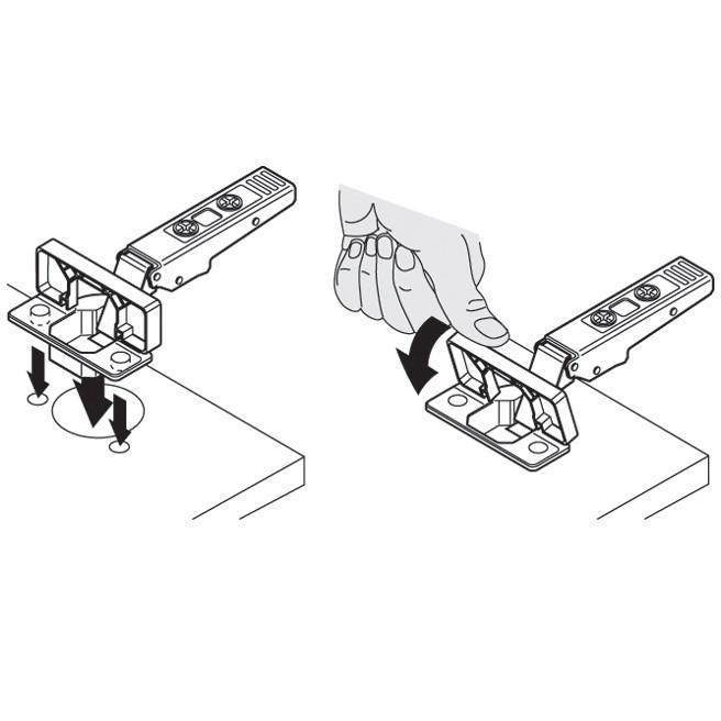 Blum 71T6640B 170 Degree CLIP Top Hinge, Self-Close, Half Overlay, Inserta :: Image 180