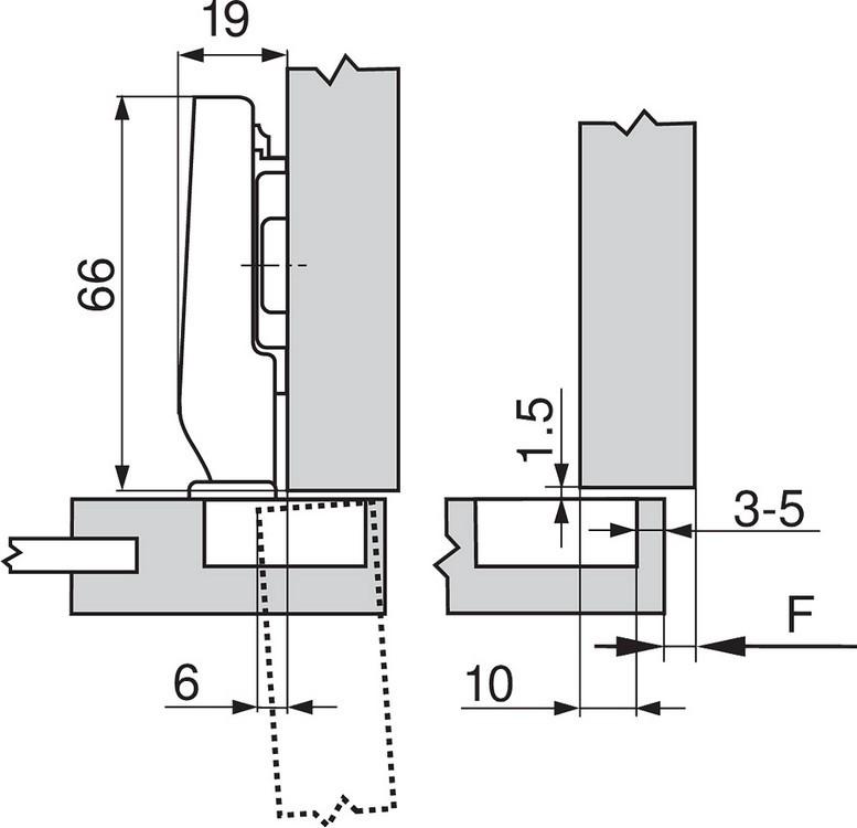 Blum 71T0550 94 Degree CLIP Top Mini Hinge, Self-Close, Full Overlay, Screw-on :: Image 180
