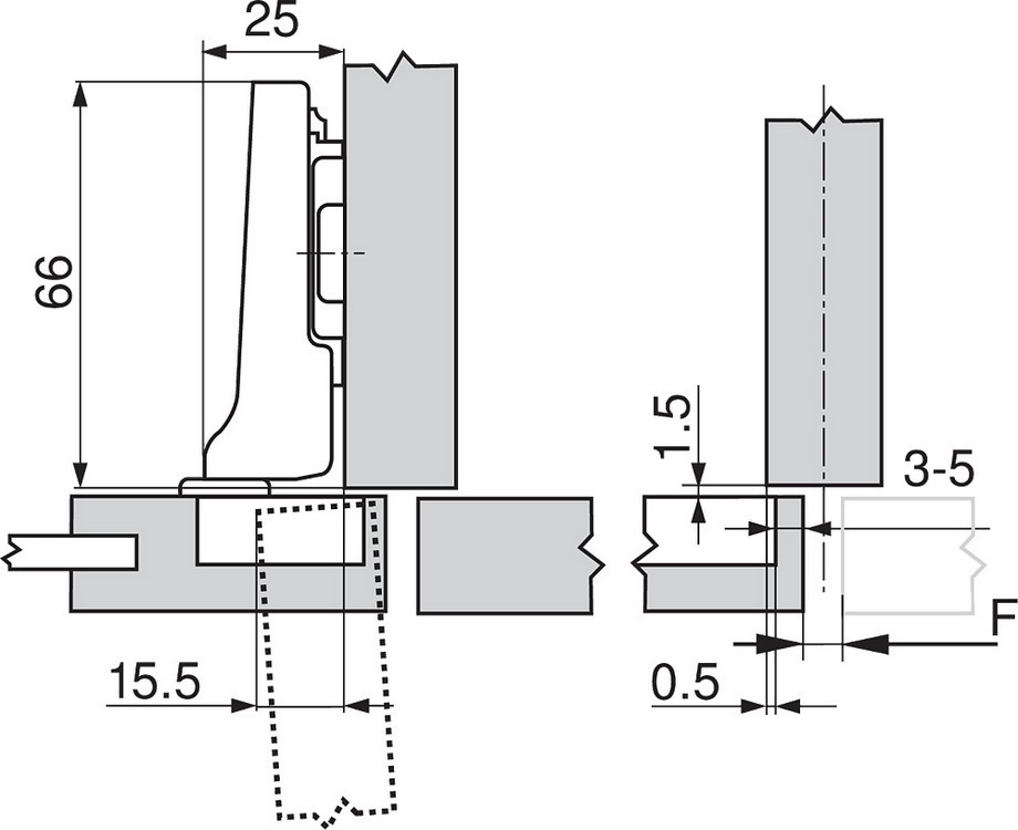 Blum 71T0650 94 Degree CLIP Top Mini Hinge, Self-Close, Half Overlay, Screw-on :: Image 180