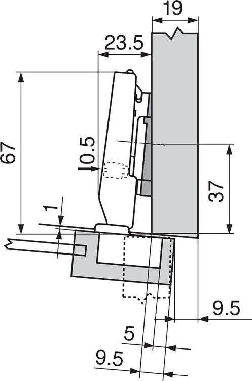 Blum 71T0650 94 Degree CLIP Top Mini Hinge, Self-Close, Half Overlay, Screw-on :: Image 190