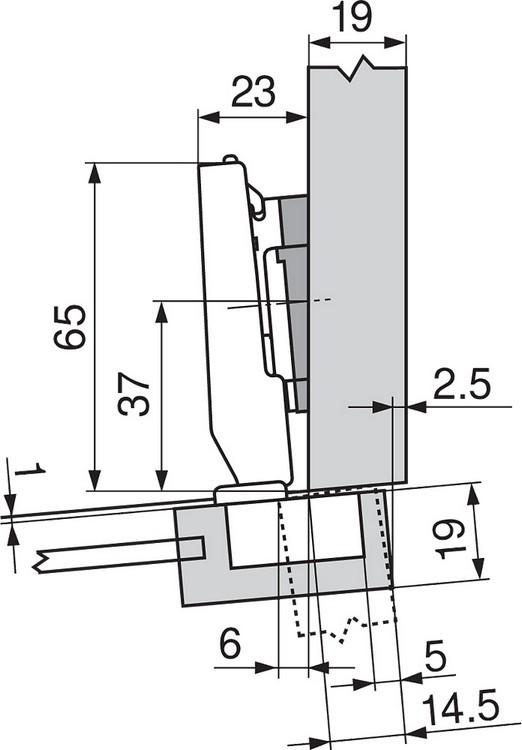 Blum 71T0650 94 Degree CLIP Top Mini Hinge, Self-Close, Half Overlay, Screw-on :: Image 60