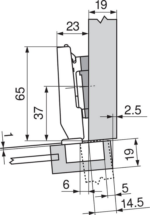 Blum 71T0550 94 Degree CLIP Top Mini Hinge, Self-Close, Full Overlay, Screw-on :: Image 60