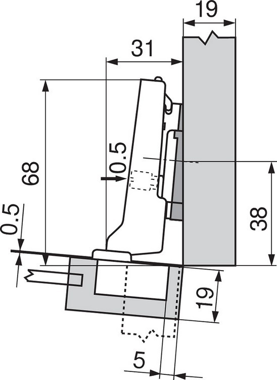 Blum 71T0650 94 Degree CLIP Top Mini Hinge, Self-Close, Half Overlay, Screw-on :: Image 40