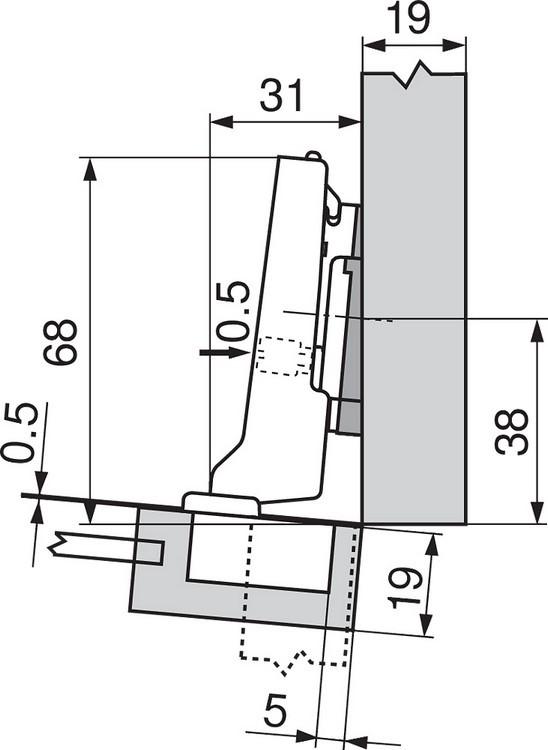 Blum 71T0550 94 Degree CLIP Top Mini Hinge, Self-Close, Full Overlay, Screw-on :: Image 200