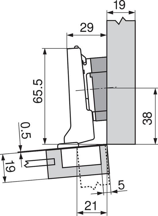 Blum 71T0650 94 Degree CLIP Top Mini Hinge, Self-Close, Half Overlay, Screw-on :: Image 70