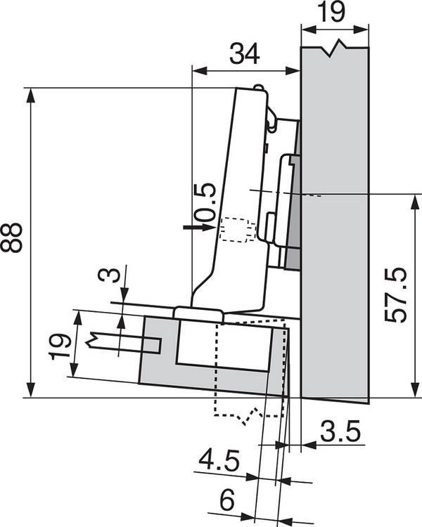 Blum 71T0650 94 Degree CLIP Top Mini Hinge, Self-Close, Half Overlay, Screw-on :: Image 50