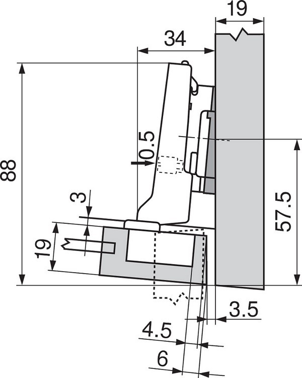 Blum 71T0650 94 Degree CLIP Top Mini Hinge, Self-Close, Half Overlay, Screw-on :: Image 210