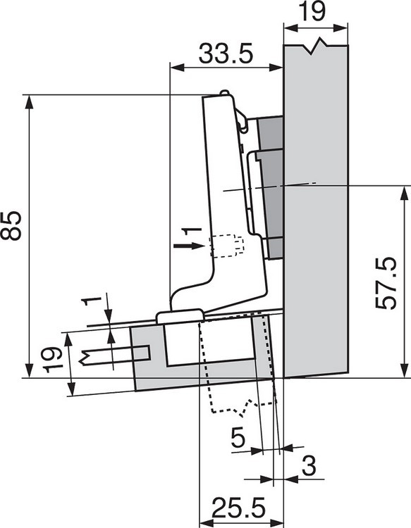 Blum 71T0550 94 Degree CLIP Top Mini Hinge, Self-Close, Full Overlay, Screw-on :: Image 240