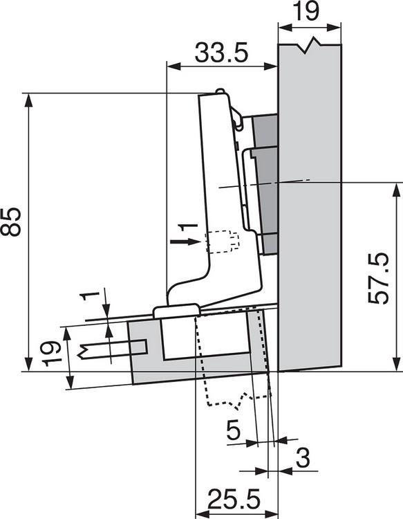 Blum 71T0650 94 Degree CLIP Top Mini Hinge, Self-Close, Half Overlay, Screw-on :: Image 240