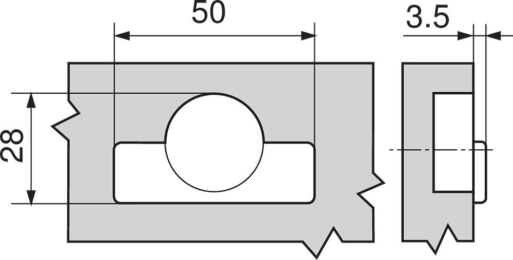 Blum 71T0650 94 Degree CLIP Top Mini Hinge, Self-Close, Half Overlay, Screw-on :: Image 100