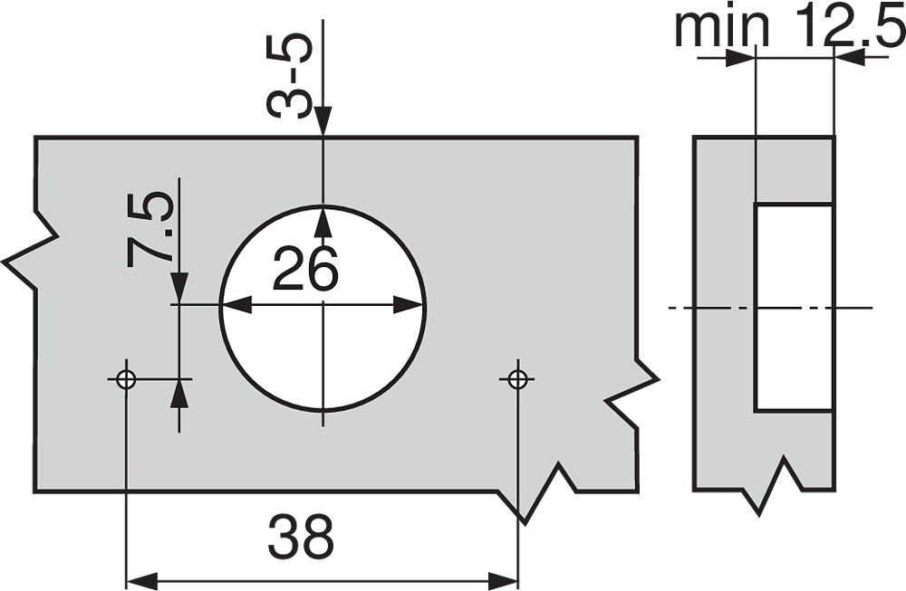 Blum 71T0650 94 Degree CLIP Top Mini Hinge, Self-Close, Half Overlay, Screw-on :: Image 250