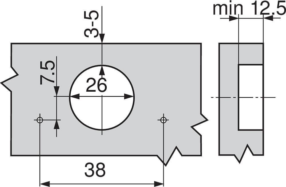 Blum 71T0550 94 Degree CLIP Top Mini Hinge, Self-Close, Full Overlay, Screw-on :: Image 90