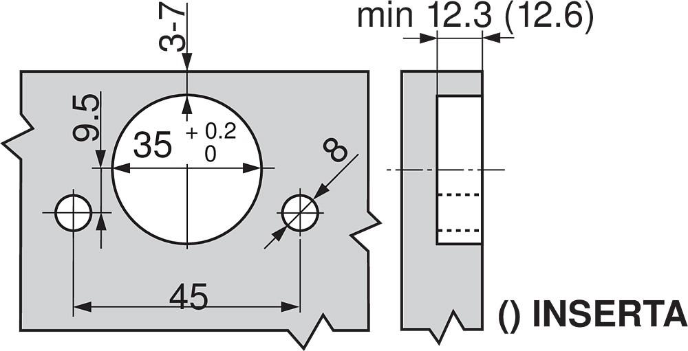 Blum 71T9780 95 Degree CLIP Top Hinge for Thick Door, Self-Close, Inset, Dowel :: Image 40
