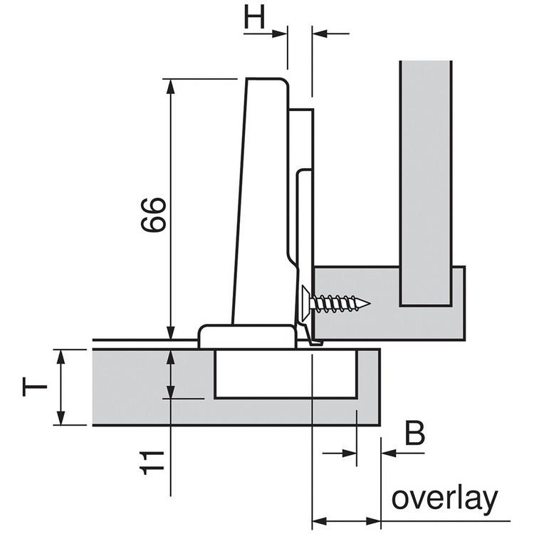 Blum 70M2550.TL 100 Degree CLIP Hinge, Free Swing, Full Overlay, Screw-on :: Image 20