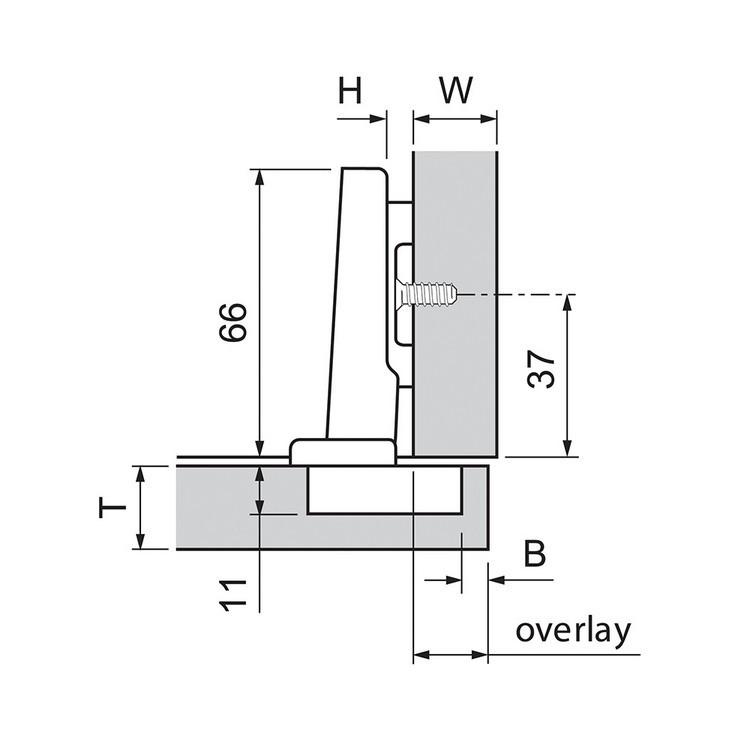 Blum 70M2580.TL 100 Degree CLIP Hinge, Free Swing, Full Overlay, Dowel :: Image 70