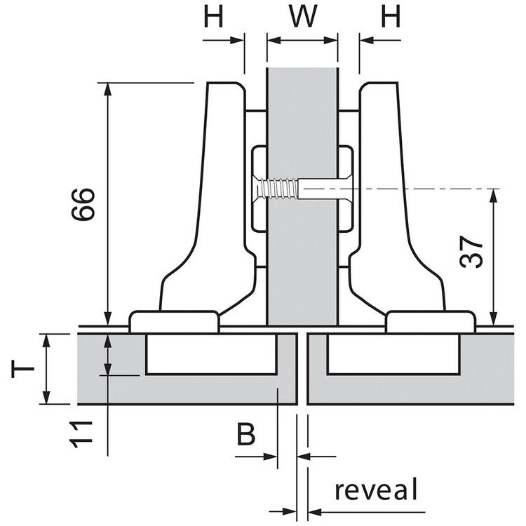 Blum 71M2680 100 Degree CLIP Hinge, Self-Close, Half Overlay, Dowel :: Image 10