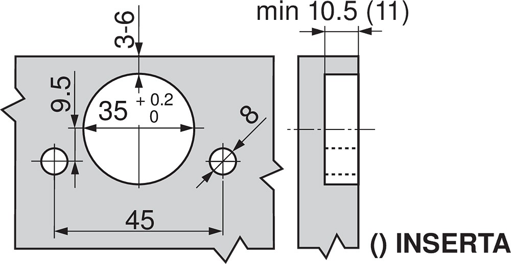 Blum 71M2690B 100 Degree CLIP Hinge, Self-Close, Half Overlay, Inserta :: Image 180
