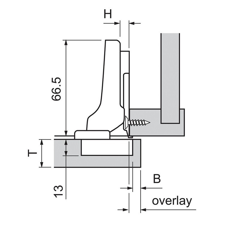 Blum 70T3650.TL 110 Degree CLIP Top Hinge, Free Swing, Half Overlay, Screw-on :: Image 10