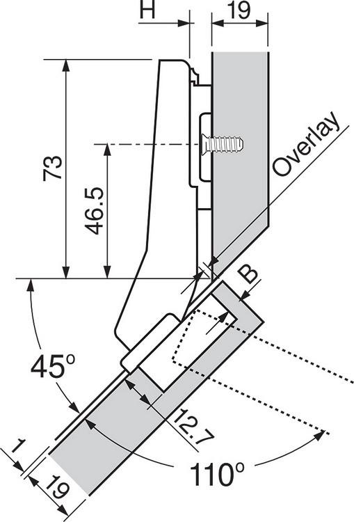 Blum 79T5580 +45 II 110 Degree CLIP Top Hinge, Self-Close, +45 Degree Diagonal, Full Overlay, Dowel :: Image 120