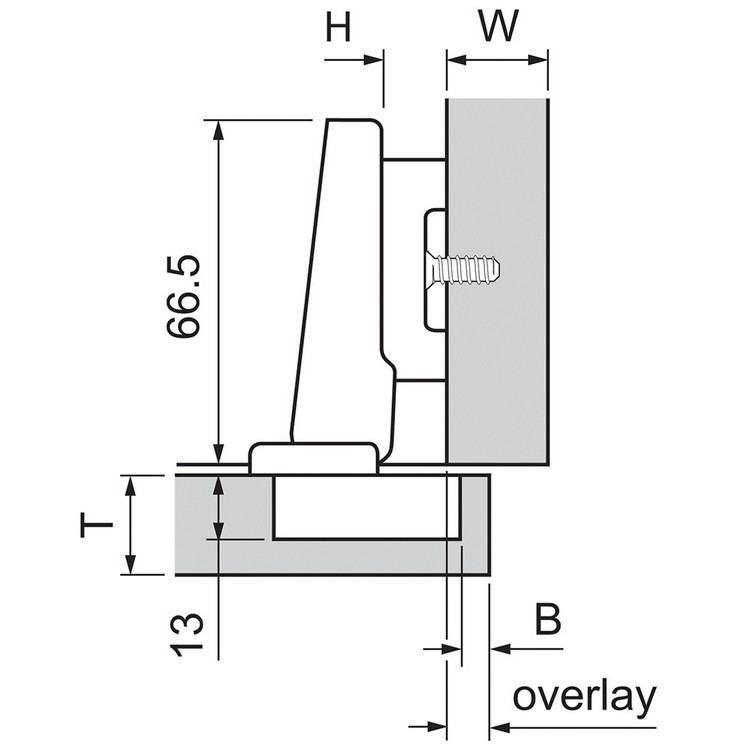 Blum 72T3590.TL 110 Degree Plus CLIP Top Hinge, Free Swing, Full Overlay, Inserta :: Image 140