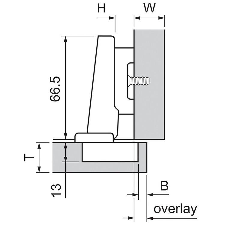 Blum 73T3580 110 Degree Plus CLIP Top Hinge, Self-Close, Full Overlay, Dowel :: Image 130