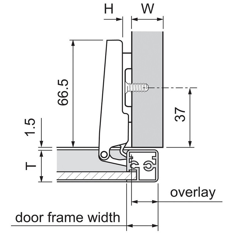 Blum 73T550A 120 Degree CLIP Top Aluminum Door Hinge, Self-Close, Full Overlay, Screw-on :: Image 30