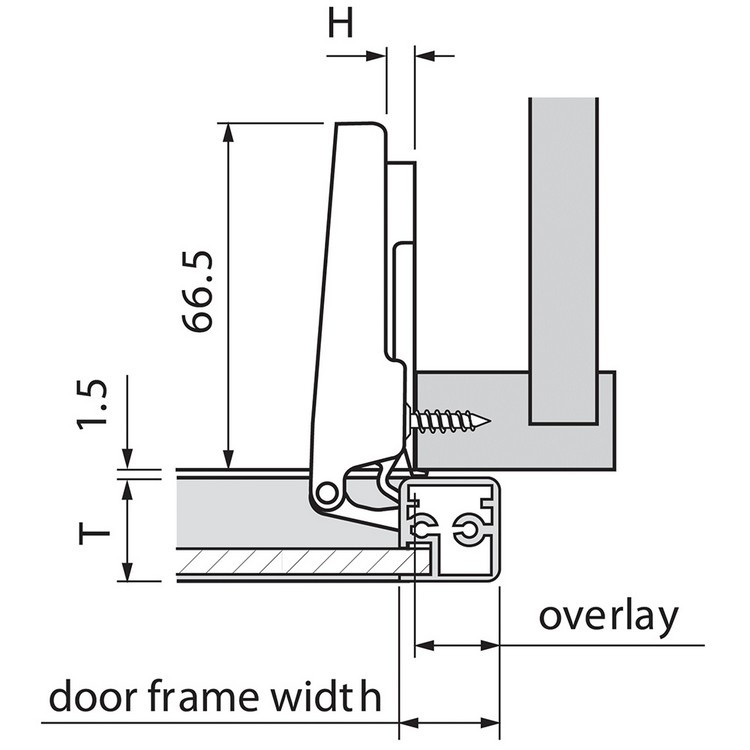 Blum 73T550A 120 Degree CLIP Top Aluminum Door Hinge, Self-Close, Full Overlay, Screw-on :: Image 120