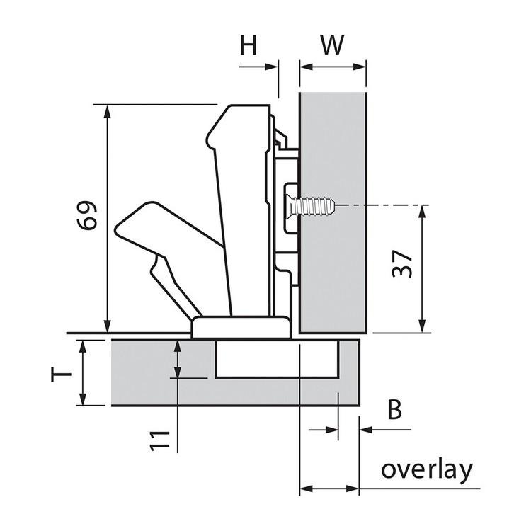 Blum 71T6580 170 Degree CLIP Top Hinge, Self-Close, Full Overlay, Dowel :: Image 100