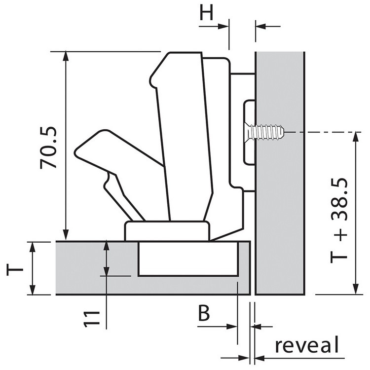 Blum 71T6680 170 Degree CLIP Top Hinge, Self-Close, Half Overlay, Dowel :: Image 110