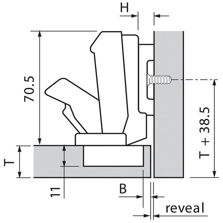 Blum 71T6650 170 Degree CLIP Top Hinge, Self-Close, Half Overlay, Screw-on :: Image 110