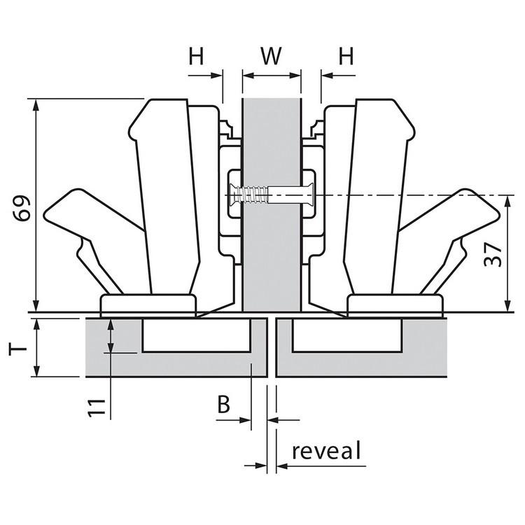 Blum 71T6650 170 Degree CLIP Top Hinge, Self-Close, Half Overlay, Screw-on :: Image 100