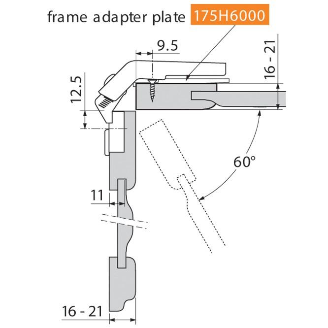 Blum 79T8500.10 60 Degree CLIP Top Bi-Fold Hinge, Self-Close, Screw-on :: Image 130
