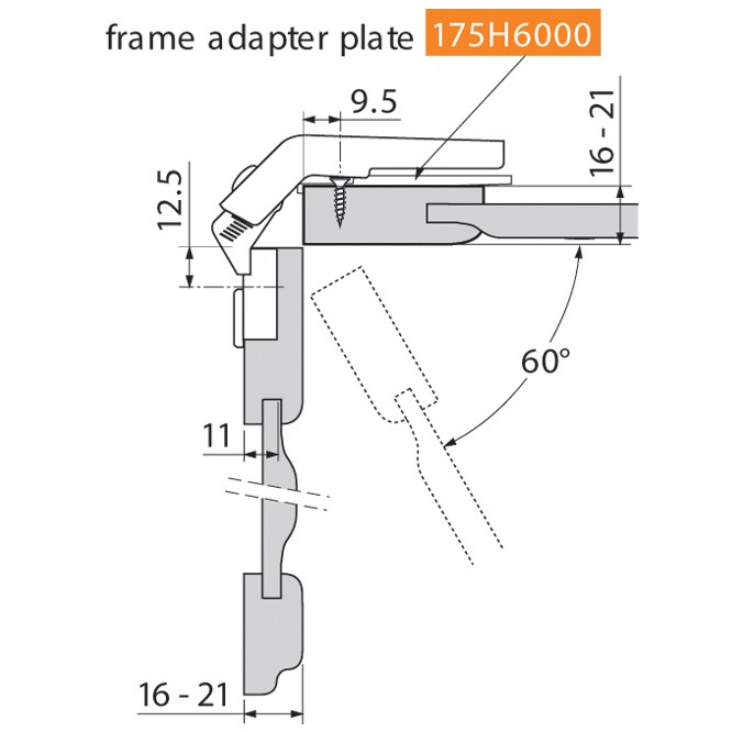 Blum 79T8500.10 60 Degree CLIP Top Bi-Fold Hinge, Self-Close, Screw-on :: Image 20