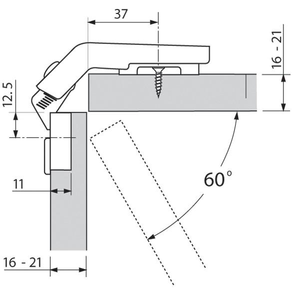 Blum 79T8500.10 60 Degree CLIP Top Bi-Fold Hinge, Self-Close, Screw-on :: Image 150