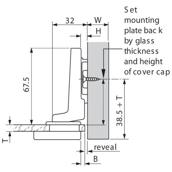 Blum 75T4300 94 Degree CLIP Top Glass Door Hinge, Self-Close, Inset, Screw-on :: Image 80