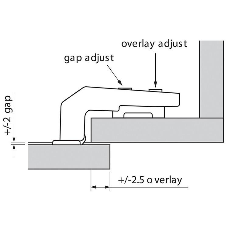Blum 79B9980 95 Degree CLIP Top BLUMOTION Blind Corner Hinge, Soft-Close, Full Overlay, Dowel :: Image 110