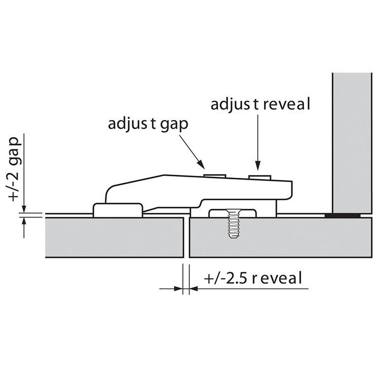 Blum 79T9550 95 Degree CLIP Top Blind Corner Hinge, Self-Close, Inset, Screw-on :: Image 60