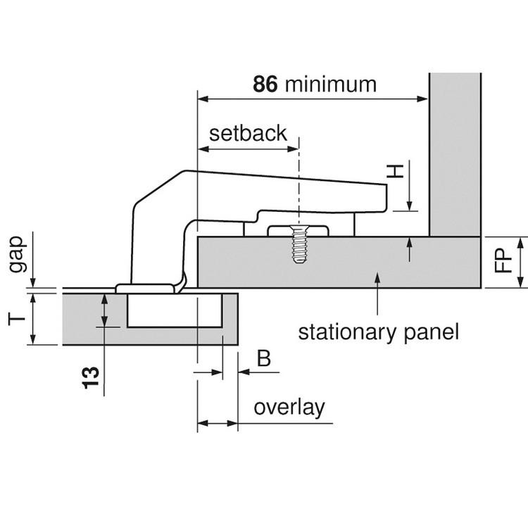 Blum 79T9990B37 95 Degree CLIP Top Blind Corner Hinge, Self-Close, Full Overlay, Inserta :: Image 90