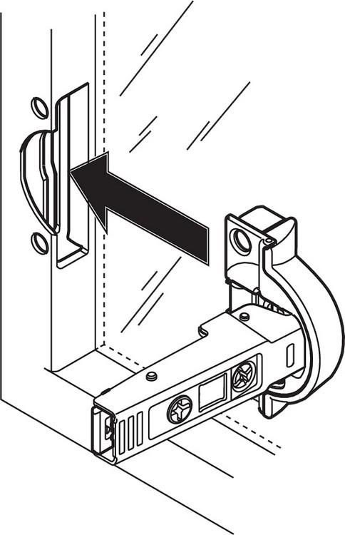 Blum 71B950A 95 Degree CLIP Top BLUMOTION Narrow Aluminum Door Hinge, Soft-Close, Full Overlay, Screw-on :: Image 170