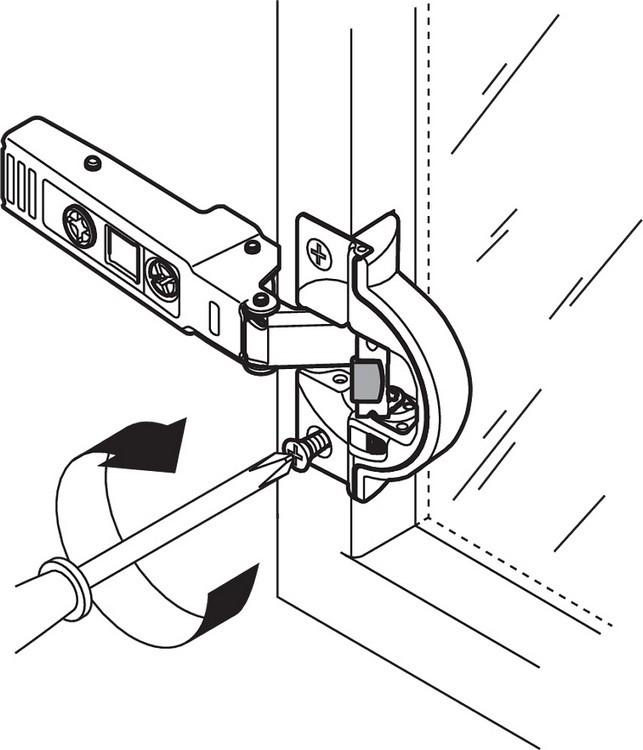 Blum 71B950A 95 Degree CLIP Top BLUMOTION Narrow Aluminum Door Hinge, Soft-Close, Full Overlay, Screw-on :: Image 180